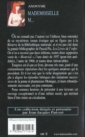 Mademoiselle M. - 4ème de couverture - Format classique