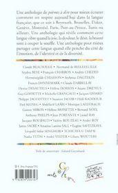 Poemes A Dire La Francophonie - 4ème de couverture - Format classique