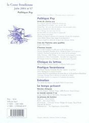 La cause freudienne 57 - politique psy - 4ème de couverture - Format classique