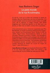 Le petit monde de la rue krochmalna - 4ème de couverture - Format classique