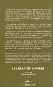 Les Espaces Humides ; Le Droit Entre Protection Et Exploitation Des Territoires - 4ème de couverture - Format classique