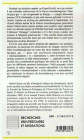 La Nation Luxembourgeoise ; Genese Et Structure D'Une Identite - 4ème de couverture - Format classique