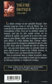 Theatre erotique t.1 - 4ème de couverture - Format classique