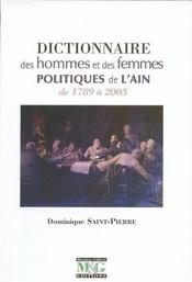 Dictionnaire des hommes et des femmes politiques de l'Ain de 1789 à 2003 - Couverture - Format classique