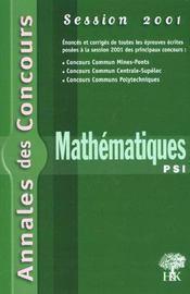 Annales H&K 2001 - Mathematiques Psi - Intérieur - Format classique