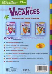 Hachette Vacances ; De Petite En Moyenne Section De Maternelle ; 3/4 Ans - 4ème de couverture - Format classique