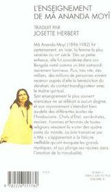 L'enseignement de ma ananda moyi - 4ème de couverture - Format classique