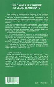 Les Causes De L'Autisme Et Leurs Traitements ; Groupe De Recherche Sur L'Autisme Et Le Polyhandicap - 4ème de couverture - Format classique