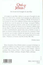 Qui est jesus ? une lecture spirituelle de l'evangile selon saint marc - 4ème de couverture - Format classique