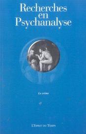 Recherches en psychanalyse n 2 2004 - le crime (édition 2004) - Intérieur - Format classique