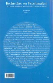 Recherches en psychanalyse n 2 2004 - le crime (édition 2004) - 4ème de couverture - Format classique