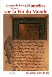 Homélies sur la fin du monde - Couverture - Format classique