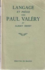 Langage et poésie chez Paul Valéry - Couverture - Format classique