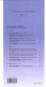 Somatisations A L'Adolescence - 4ème de couverture - Format classique