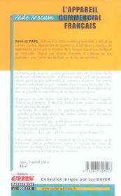 L'appareil commercial francais - 4ème de couverture - Format classique