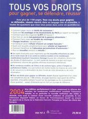Tous vos droits (édition 2004) - 4ème de couverture - Format classique