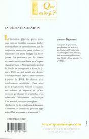 Decentralisation (6e ed) (la) - 4ème de couverture - Format classique