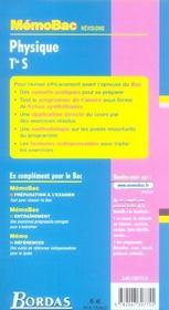 Sciences Physiques Terminale S ; Fiches De Revision - 4ème de couverture - Format classique