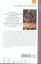 Le complot des franciscains - 4ème de couverture - Format classique