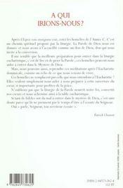 Homelies Annee C - A Qui Irions Nous - 4ème de couverture - Format classique