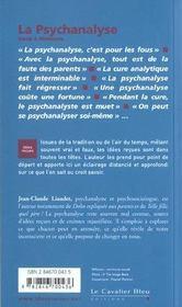 La psychanalyse - 4ème de couverture - Format classique
