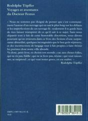 Les voyages du docteur Festus - 4ème de couverture - Format classique