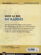 Les enfants du Nil T.13 ; sous le nez de Ramsès - 4ème de couverture - Format classique