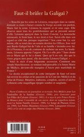 Faut-Il Bruler La Galigai ? - 4ème de couverture - Format classique