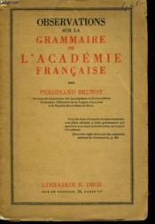 Observations Sur La Grammaire De L'Academie Francaise - Couverture - Format classique