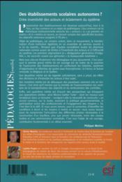 Les établissements scolaires autonomes ? ; entre inventivité des acteurs et éclatement du système - 4ème de couverture - Format classique