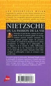 Nietzsche ou la passion de la vie - 4ème de couverture - Format classique