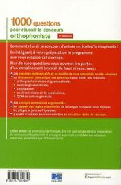 1000 Questions Pour Reussir Le Concours D Orthophoniste 2eme Edition - 4ème de couverture - Format classique