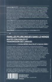 Familles Plurilingues Dans Le Monde. Mixites Conjugales Et Transmission Des Langues - 4ème de couverture - Format classique