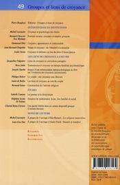 Groupes et liens de croyance - 4ème de couverture - Format classique