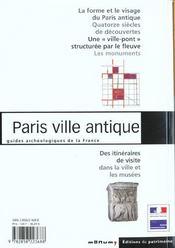 Paris ville antique - 4ème de couverture - Format classique