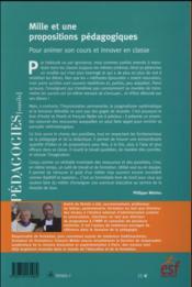 Mille et une propositions pédagogiques ; pour animer son cours et innover en classe - 4ème de couverture - Format classique