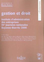 Gestion et droit ; institut d'administration des entreprises, XVe journées nationales Bayonne-Biarritz 2000 - Intérieur - Format classique