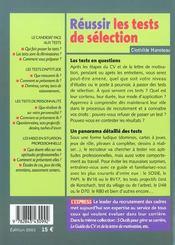 Reussir Les Tests De Selection - 4ème de couverture - Format classique