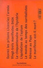 Manifeste dada et surréalistes - 4ème de couverture - Format classique