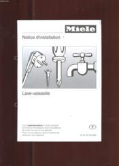 Notice D'Installation Lave-Vaisselle. Miele - Couverture - Format classique