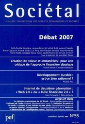 Sociétal t.55 ; débats (édition 2007) - Intérieur - Format classique