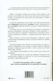 Guide De L Allaitement Et Du Sevrage - 4ème de couverture - Format classique