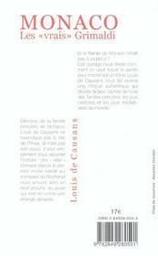 Monaco, Les Vrais Grimaldi - 4ème de couverture - Format classique
