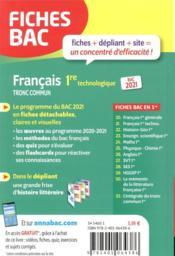 Fiches bac T.00021 ; français ; 1re technologique (édition 2021) - 4ème de couverture - Format classique