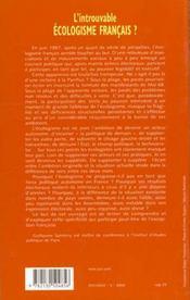 L'introuvable écologisme français ? - 4ème de couverture - Format classique