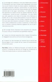 Sociologie de la litterature - 4ème de couverture - Format classique