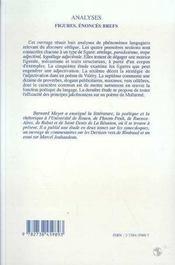 Analyses ; Figures, Enonces Brefs - 4ème de couverture - Format classique