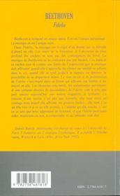 Beethoven, Fidelio, Une Ecoute Ressentie - 4ème de couverture - Format classique
