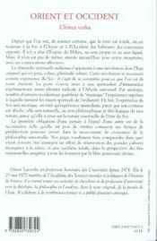 Orient et occident ultima verba - 4ème de couverture - Format classique