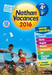 Cahier de vacances 2016 college tout en un 4eme/3eme - Couverture - Format classique